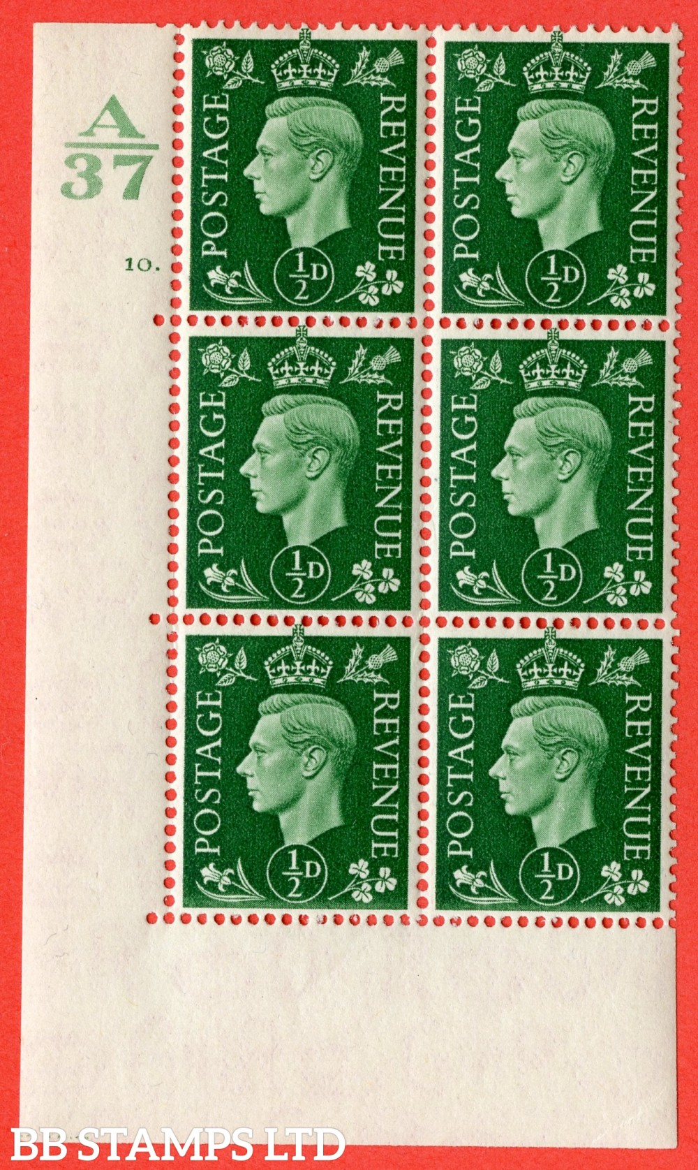 "SG. 462. Q1. ½d Green. A superb UNMOUNTED MINT "" Control A37 cylinder 10 dot "" block of 6 with perf type 5 E/I without marginal rule."