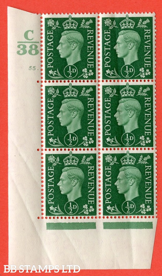 "SG. 462. Q1. ½d Green. A superb UNMOUNTED MINT "" Control C38 cylinder 55 dot "" block of 6 with perf type 5 E/I with marginal rule. Creased"