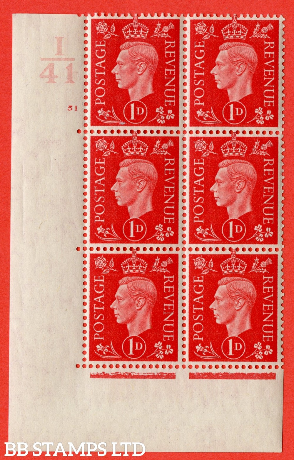 "SG. 463. Q4. 1d Scarlet. A superb UNMOUNTED MINT "" Control I41 cylinder 51 no dot "" block of 6 with perf type 5 E/I with marginal rule."