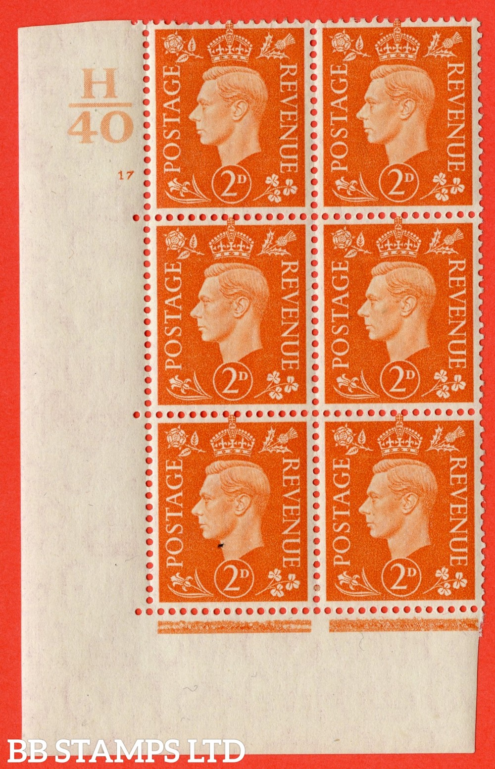 "SG. 465. Q10. 2d Orange. A very fine lightly mounted mint "" Control H40 cylinder 17 no dot "" control block of 6 with perf type 5 E/I."