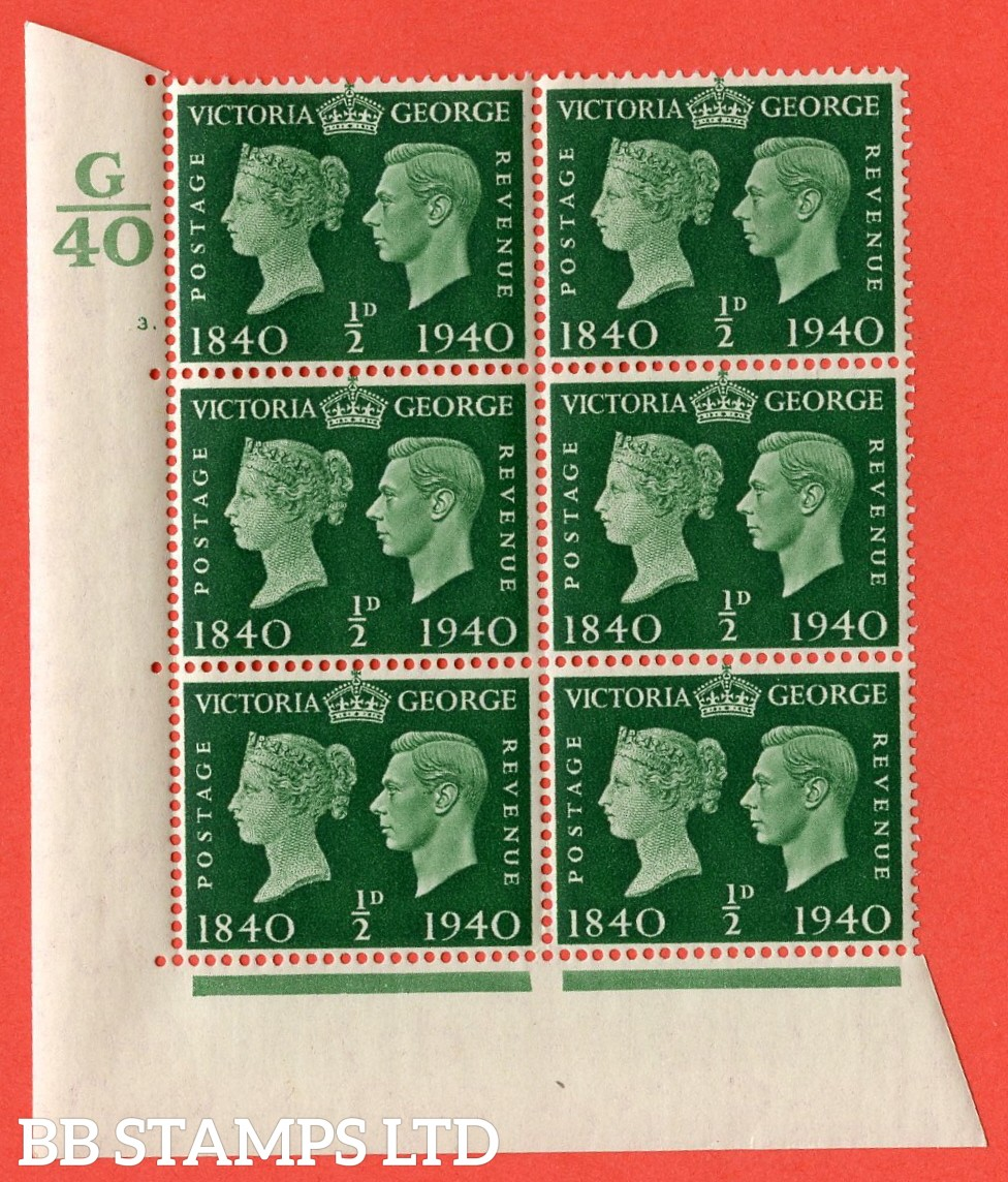 """SG. 479. QCom2. ½d Green. A Superb UNMOUNTED MINT """" Control G40 cylinder 3 no dot """" block of 6 with perf type 5 E/I"""
