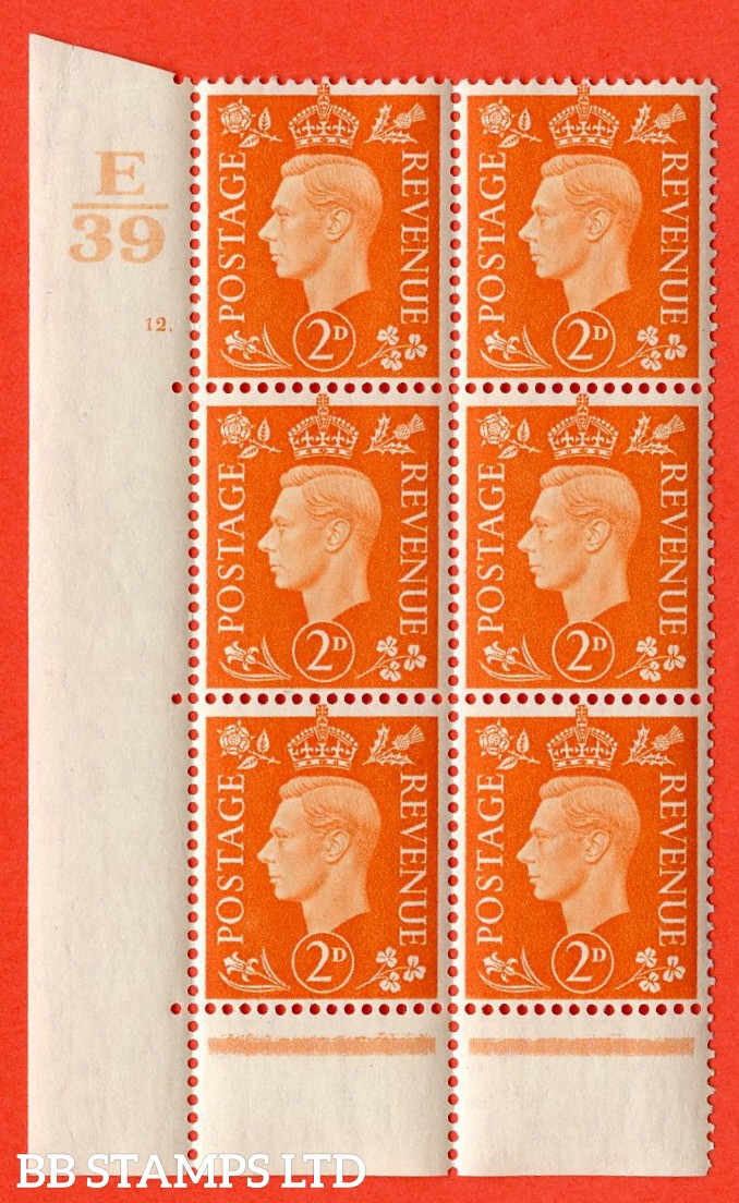 "SG. 465. Q10. 2d Orange. A superb UNMOUNTED MINT "" Control F39 cylinder 12 dot "" control block of 6 with perf type 6B E/P."