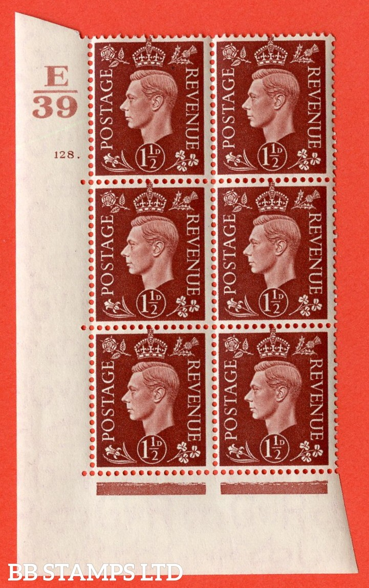 "SG. 464. Q7. 1½d Red-Brown. A superb UNMOUNTED MINT "" Control E39 cylinder 128 dot "" control block of 6 with perf type 5 E/I. with marginal rule."