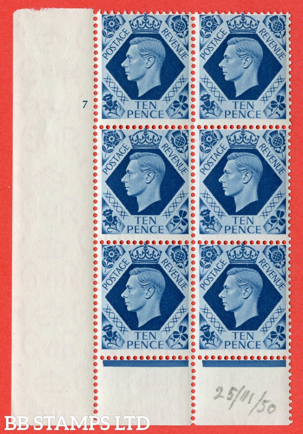 "SG. 474. Q26. 10d Turquoise-Blue. A fine mounted mint "" No Control  cylinder 7 no dot "" control block of 6 with perf type 6 I/P."