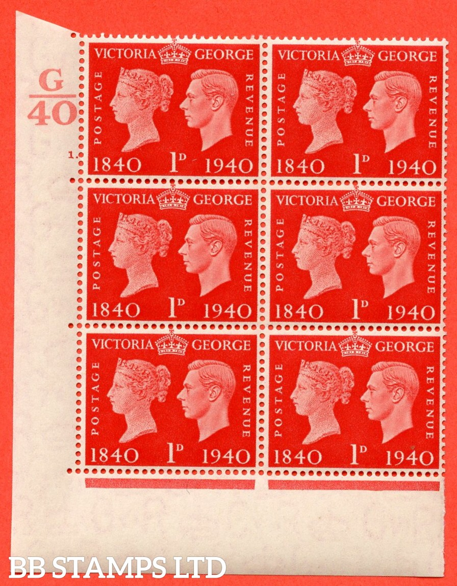 """SG. 480. QCom3. 1d Scarlet. A Superb UNMOUNTED MINT """" Control G40 cylinder 1 no dot """" block of 6 with perf type 5 E/I"""