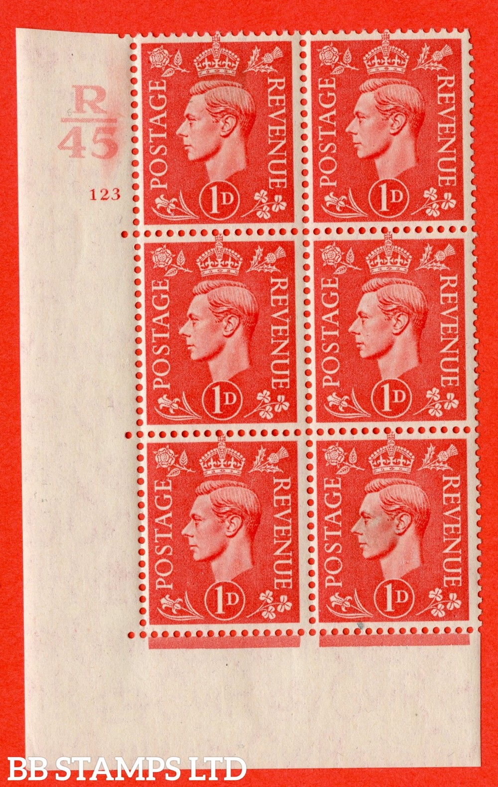 "SG. 486. Q5. 1d Pale scarlet. A very fine lightly mounted mint ""  Control R45 cylinder 123 no dot "" control block of 6 with perf type 5 E/I."
