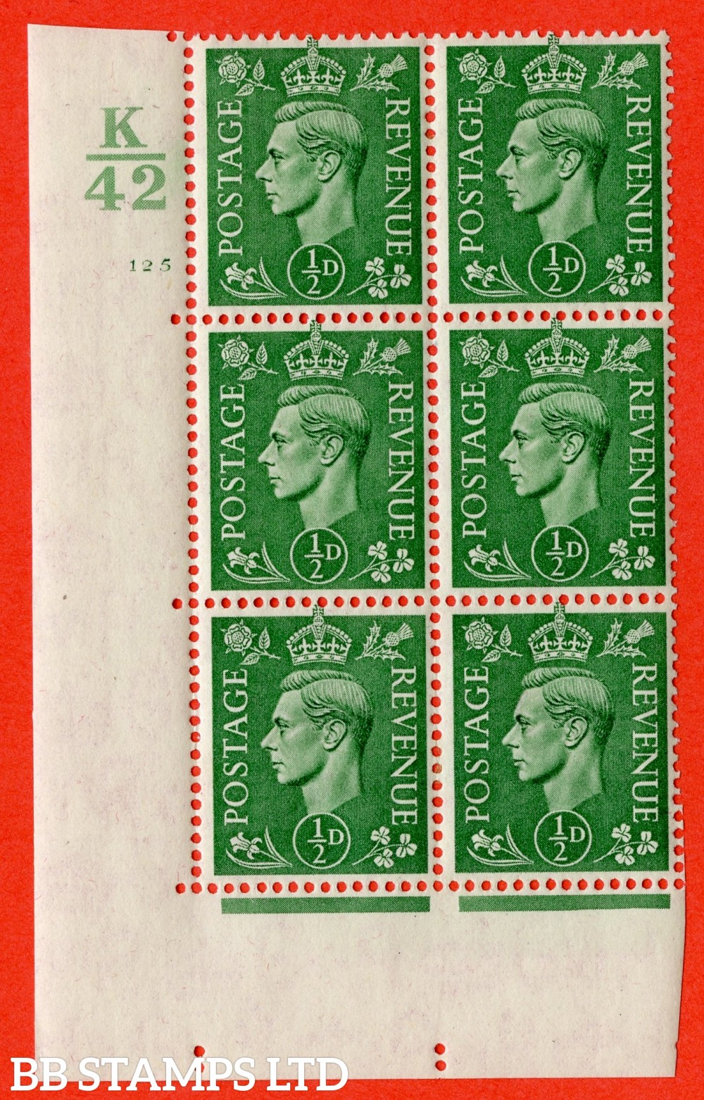 "SG. 485. Q2. ½d Pale Green. A very fine lightly mounted mint "" Control K42 cylinder 125 no dot "" block of 6 with perf type 5 E/I with marginal rule."