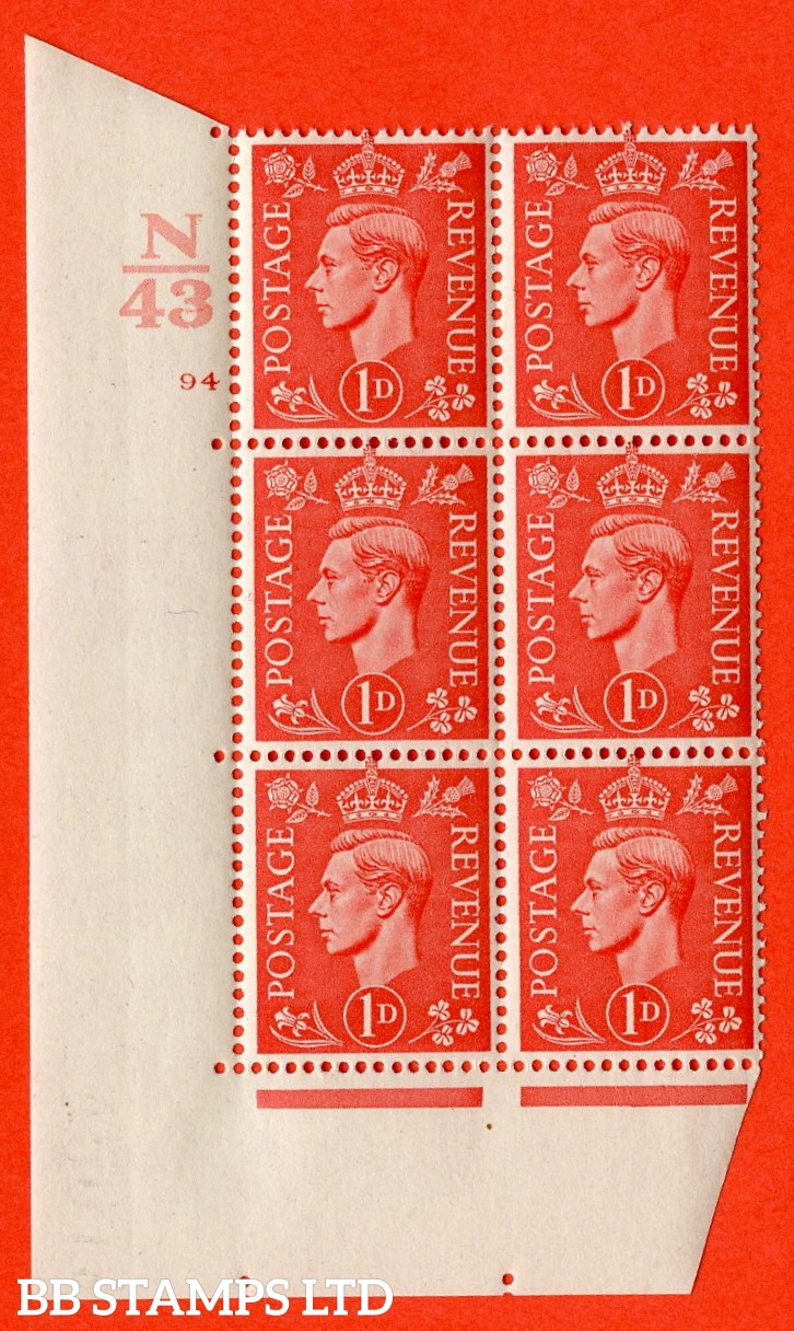 "SG. 486. Q5. 1d Pale scarlet. A superb UNMOUNTED MINT ""  Control N43 cylinder 94 no dot "" control block of 6 with perf type 5 E/I."