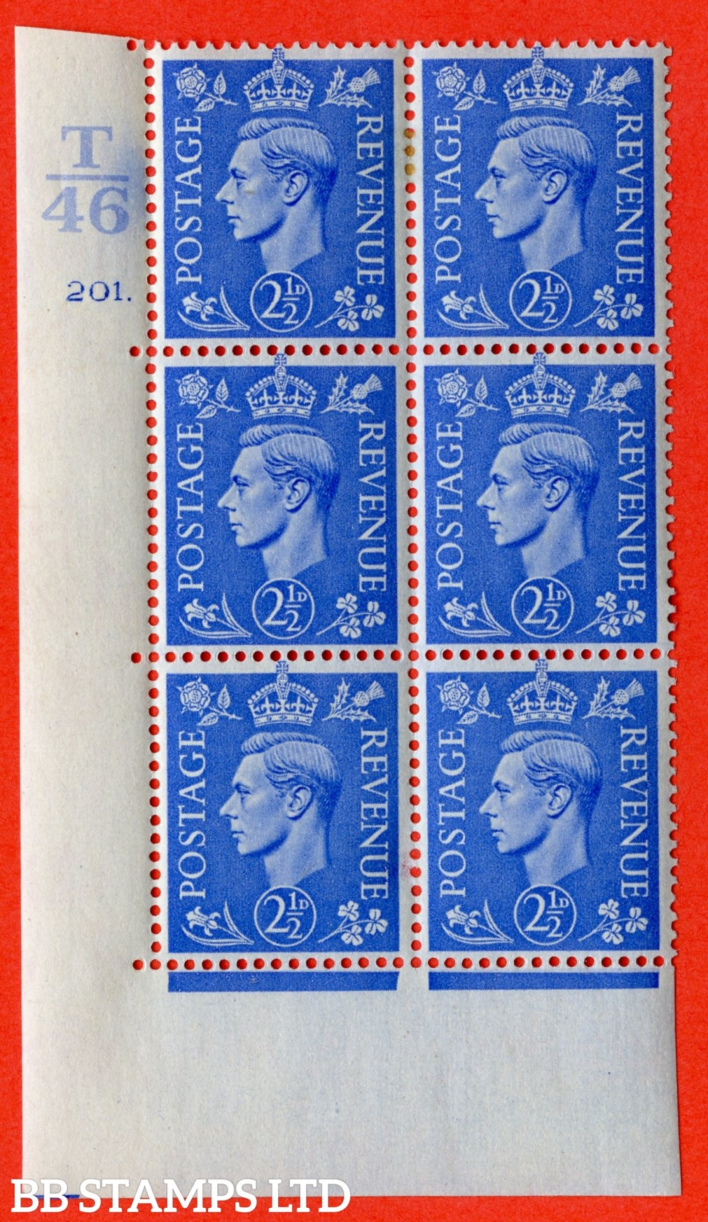 """SG. 489. Q14. 2½d Light ultramarine. A very fine lightly mounted mint """"  Control T46 cylinder 201 dot """" control block of 6 with perf type 5 E/I."""