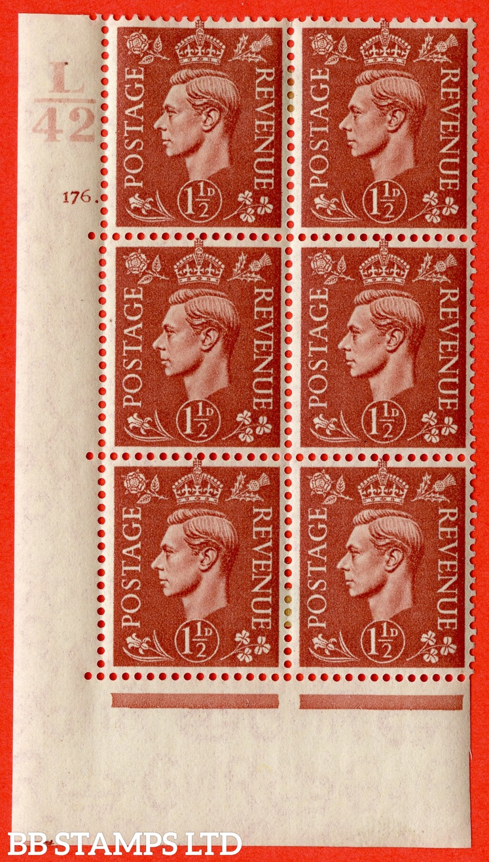 "SG. 487. Q8. 1½d Pale Red-Brown. A fine lightly mounted mint "" Control L42 cylinder 176 dot "" control block of 6 with perf type 5 E/I."