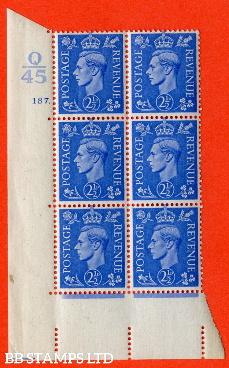 "SG. 489. Q14. 2½d Light ultramarine. A superb UNMOUNTED MINT ""  Control P44 cylinder 187 dot "" control block of 6 with perf type 5 E/I."