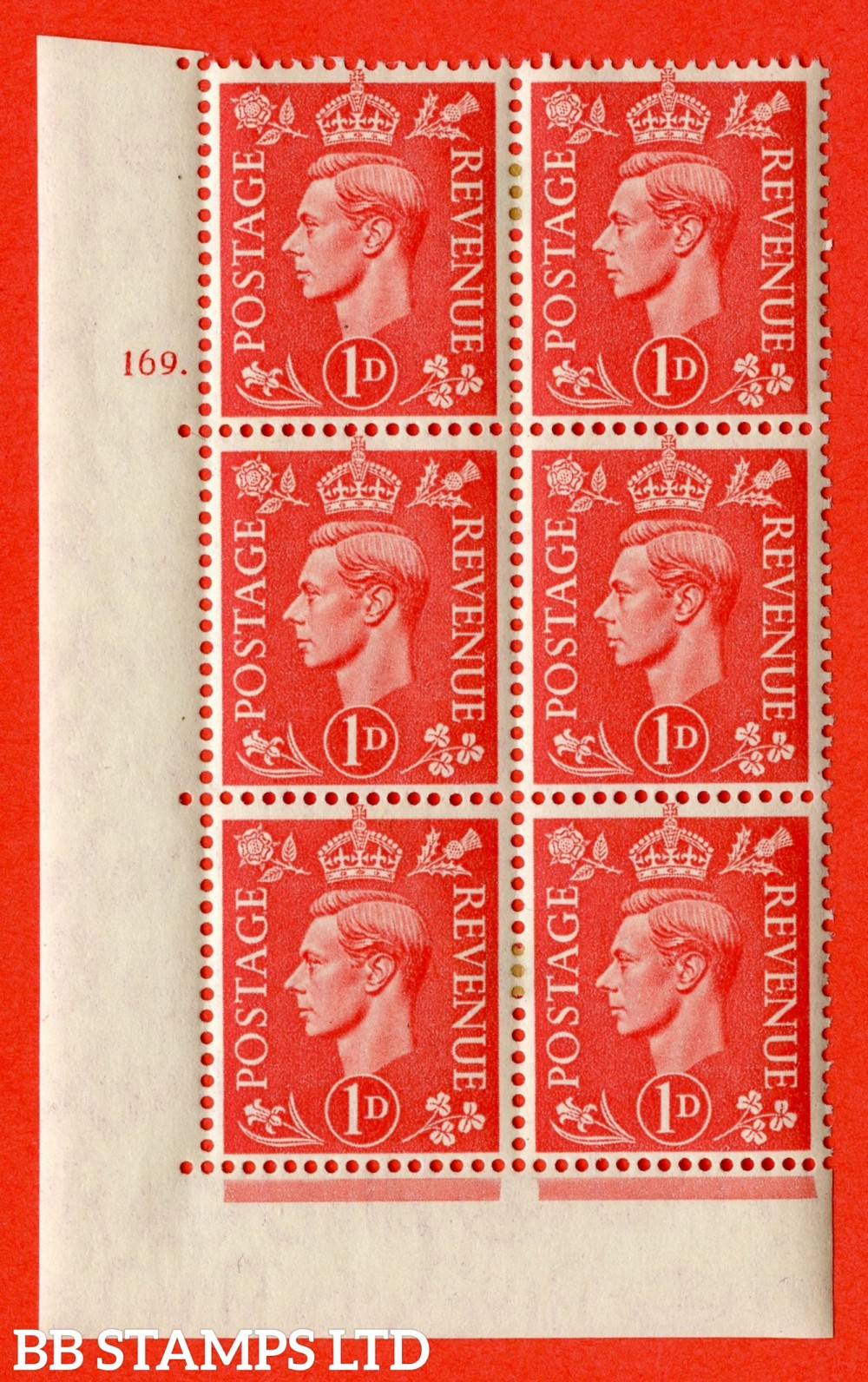 """SG. 486. Q5. 1d Pale scarlet. A fine lightly mounted mint """" Control U47 cylinder 150 no dot """" control block of 6 with perf type 6 I/P."""