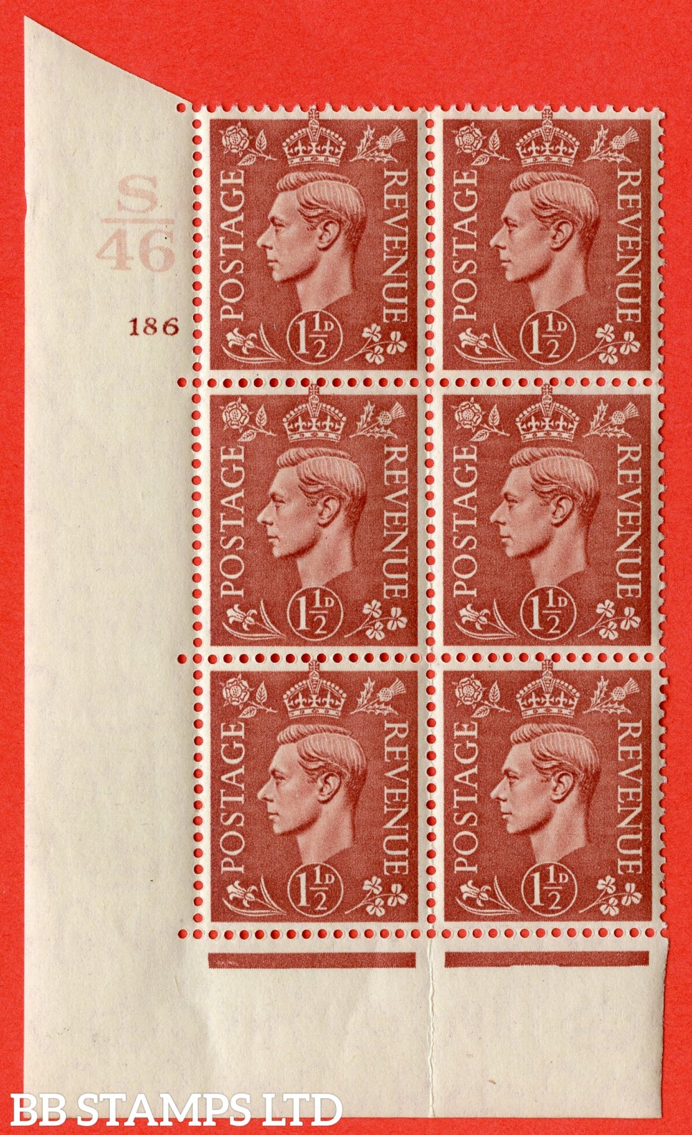 "SG. 487. Q8. 1½d Pale Red-Brown. A superb UNMOUNTED MINT "" Control S46 cylinder 186 no dot "" control block of 6 with perf type 5 E/I. with marginal rule"
