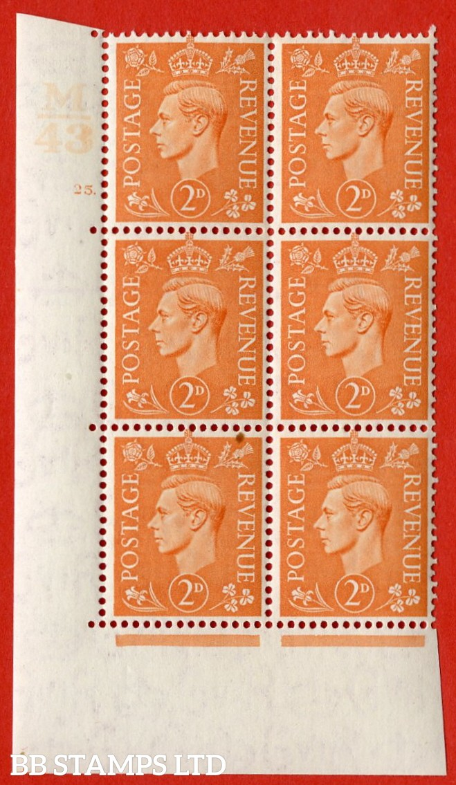 "SG. 488. Q11. 2d Pale Orange. A very fine lightly mounted mint "" Control M43 cylinder 25 dot "" control block of 6 with perf type 5 E/I."
