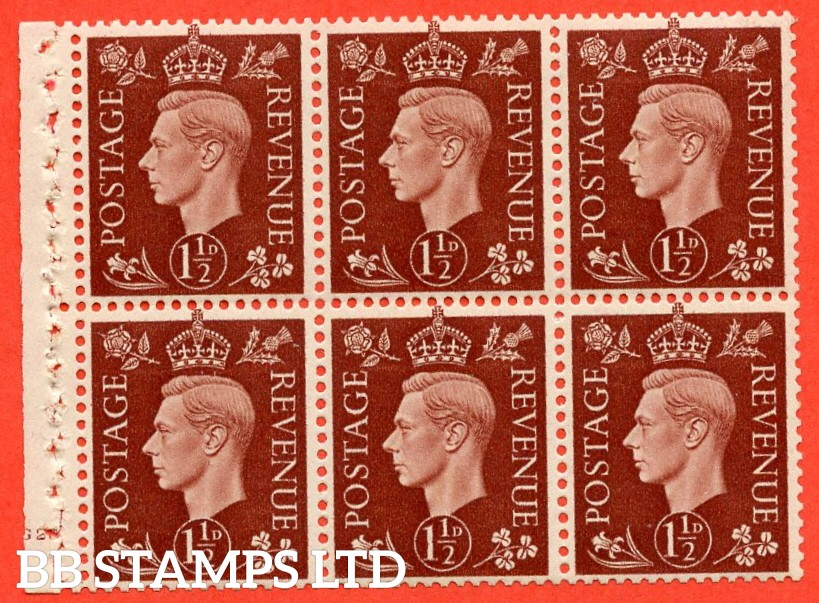 "SG. 464. QB21. 1½d Red - Brown.  A fine lightly mounted mint cylinder "" G20 no dot "" complete booklet pane with selvedge. Perf type B4 (E)."