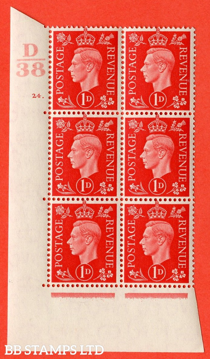 "SG. 463. Q4. 1d Scarlet. A superb UNMOUNTED MINT "" Control D38 cylinder 24 dot "" block of 6 with perf type 5 E/I with marginal rule."