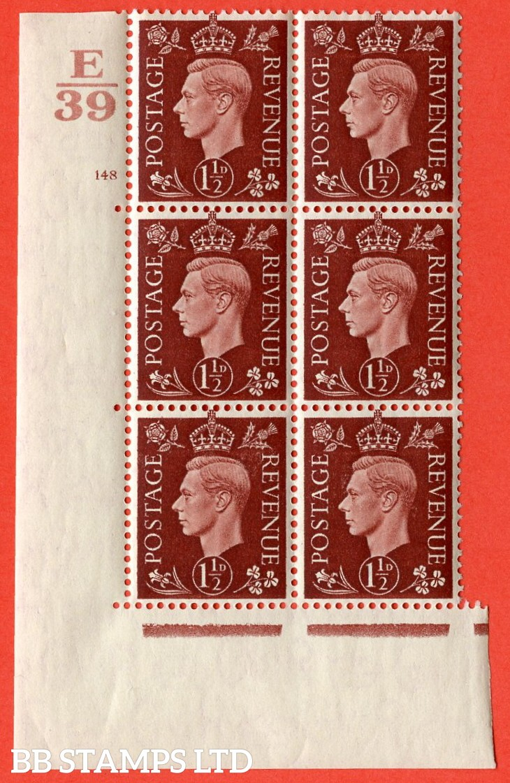 "SG. 464. Q7. 1½d Red-Brown. A very fine lightly mounted mint "" Control E39 cylinder 148 no dot "" block of 6 with perf type 5 E/I with marginal rule."