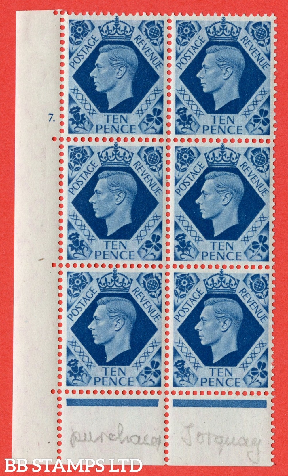 "SG. 474. Q26. 10d Turquoise-Blue. A fine mounted mint "" No Control  cylinder 7 dot "" control block of 6 with perf type 6B E/P."