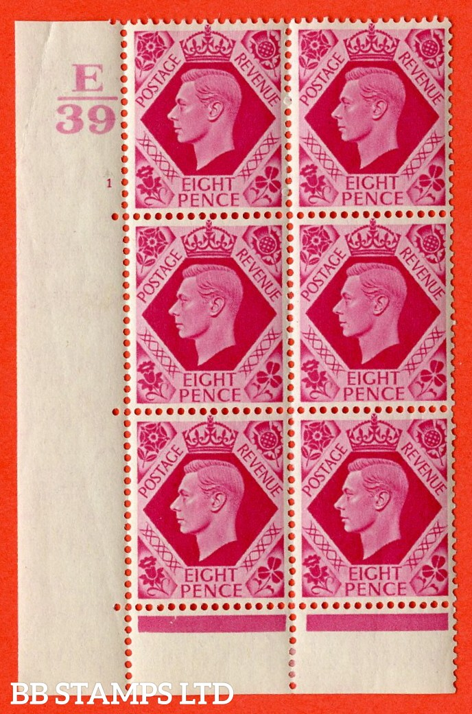 "SG. 472. Q24. 8d Carmine. A very fine lightly mounted mint "" Control E39 cylinder 1 no dot "" control block of 6 with perf type 6B E/P."