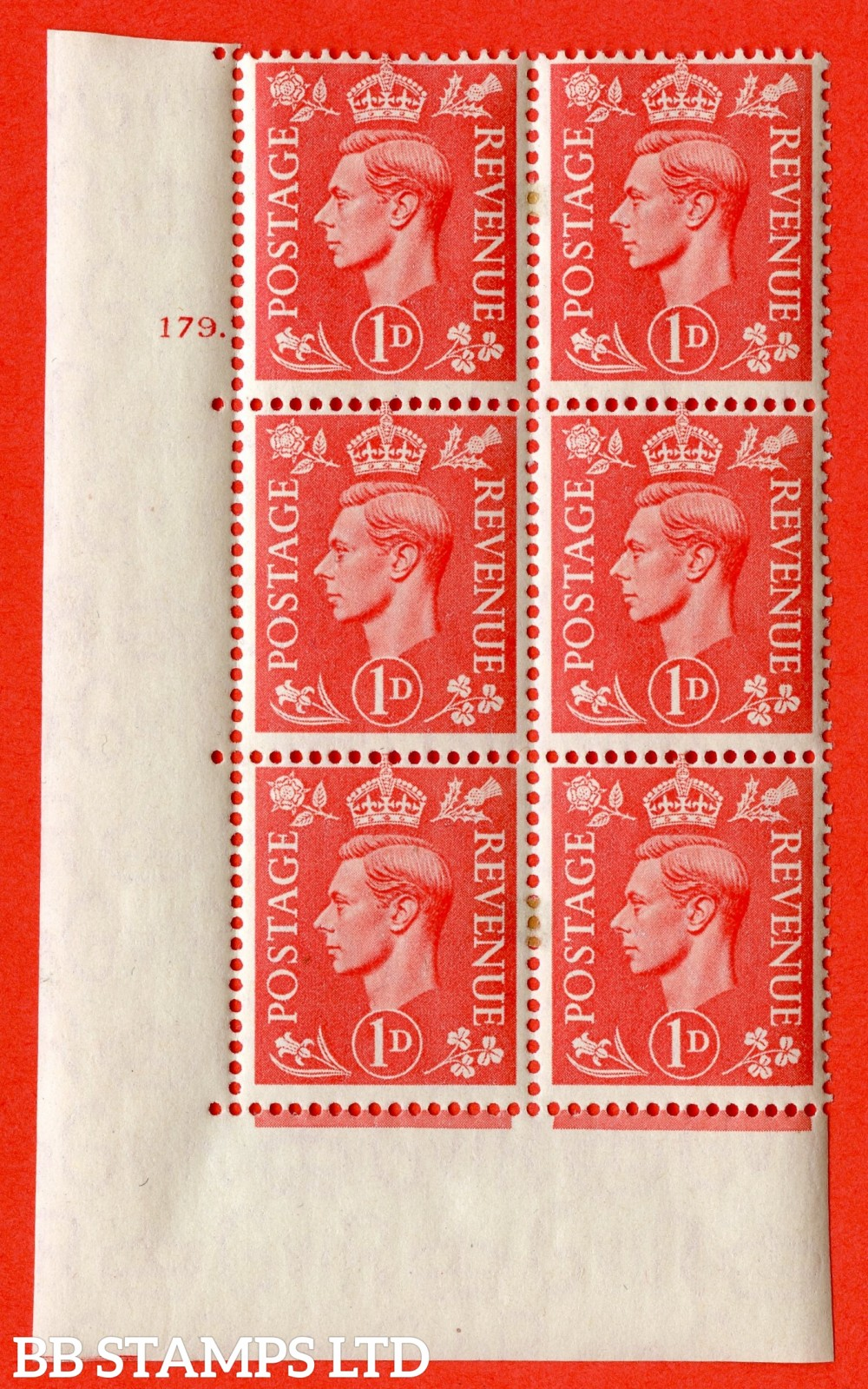 "SG. 486. Q5A. 1d Pale scarlet. A very fine lightly mounted mint ""  No Control cylinder 179 dot "" control block of 6 with perf type 5 E/I."