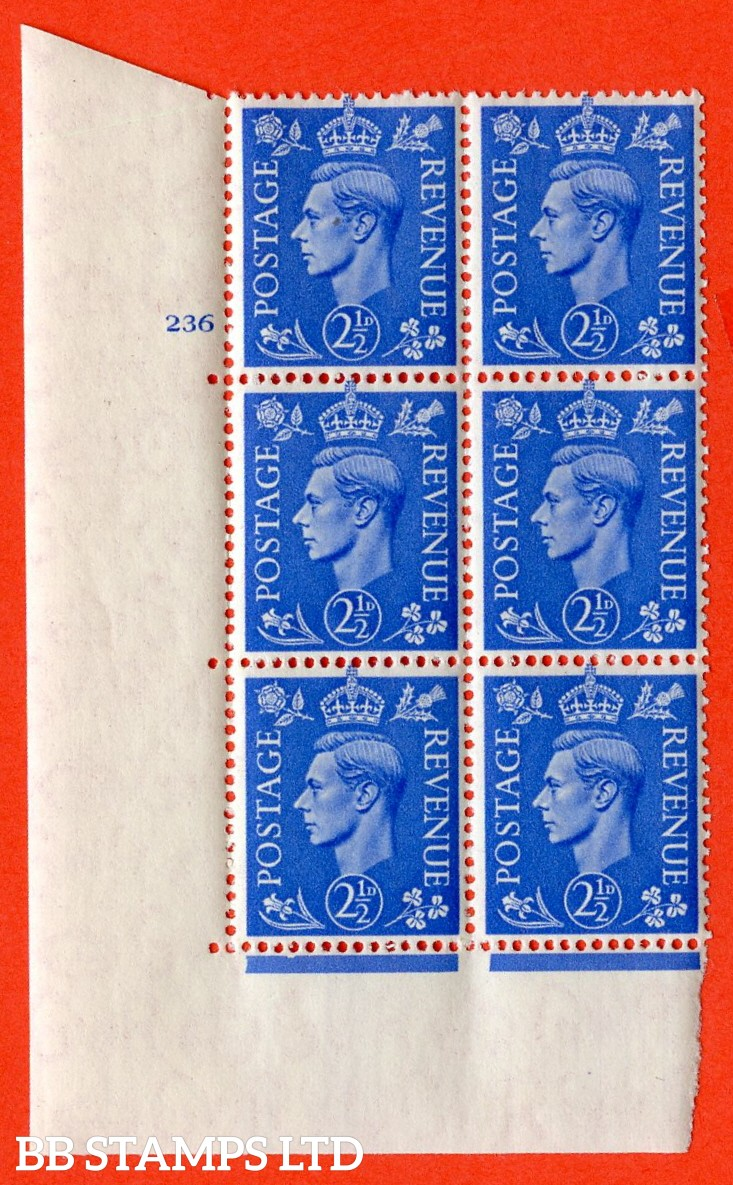 "SG. 489. Q14. 2½d Light ultramarine. A superb UNMOUNTED MINT ""  No Control cylinder 236 no dot "" control block of 6 with perf type 5 E/I."