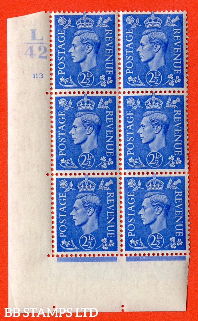 "SG. 489. Q14. 2½d Light ultramarine. A very fine lightly mounted mint ""  Control L42 cylinder 113 no dot "" control block of 6 with perf type 5 E/I."