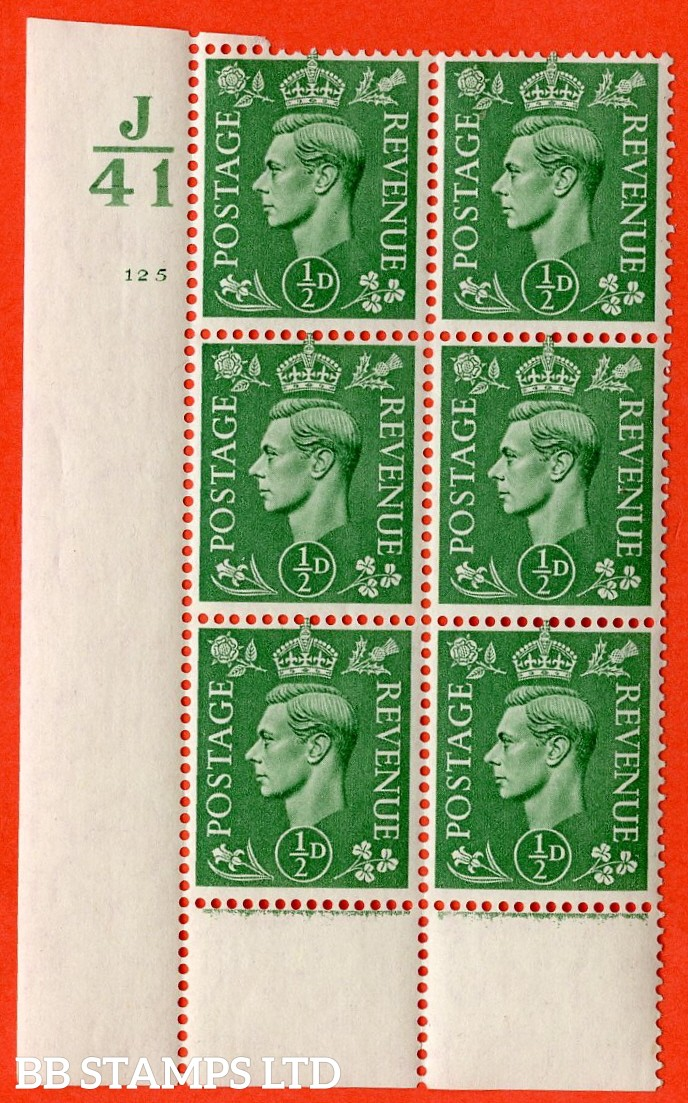 "SG. 485. Q2. ½d Pale Green. A very fine lightly mounted mint "" Control J41 cylinder 125 no dot "" block of 6 with perf type 6 I/P with marginal rule."