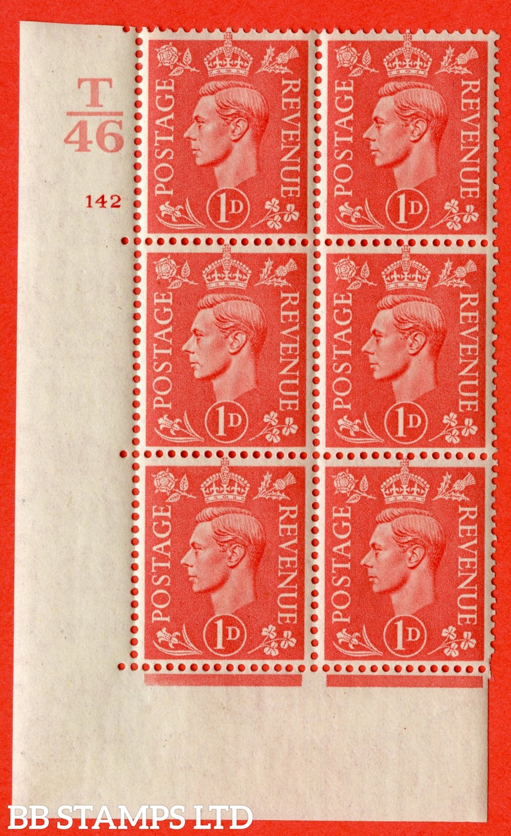 """SG. 486. Q5. 1d Pale scarlet. A fine lightly mounted mint """" Control T46 cylinder 142 no dot """" control block of 6 with perf type 5 E/I."""