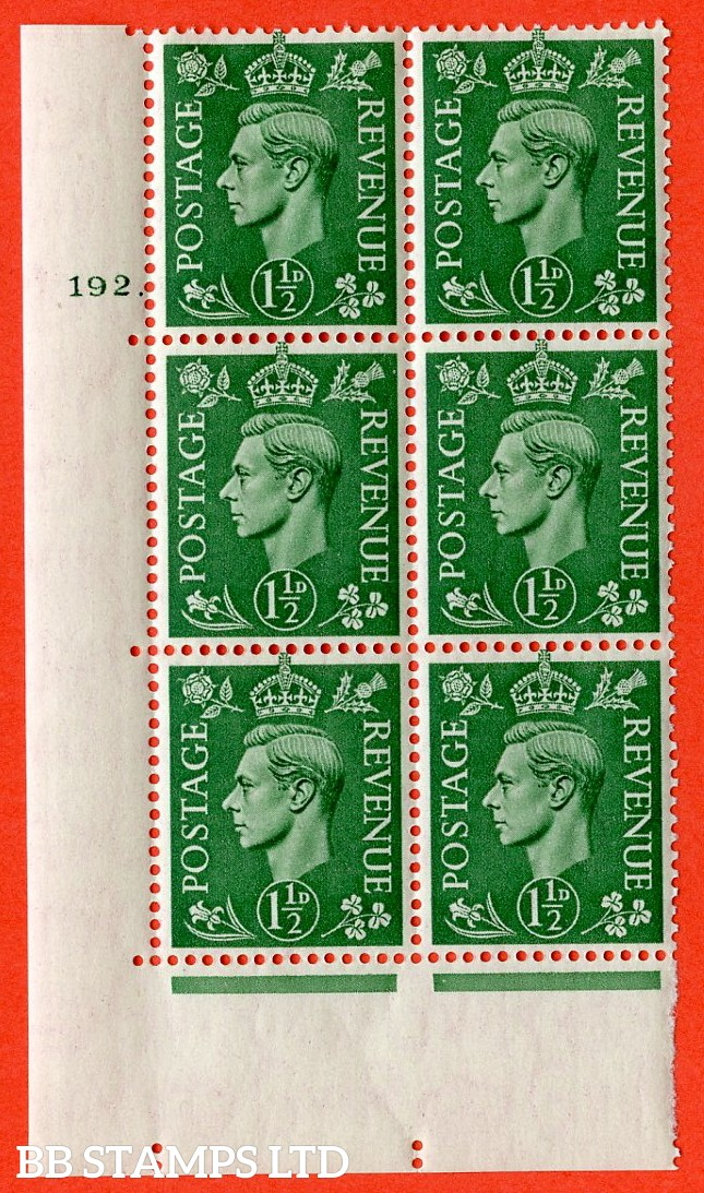 "SG. 505. cQ9. 1½d Pale Green. A superb UNMOUNTED MINT  "" No Control cylinder 192 dot "" control block of 6 with perf type 5 E/I."