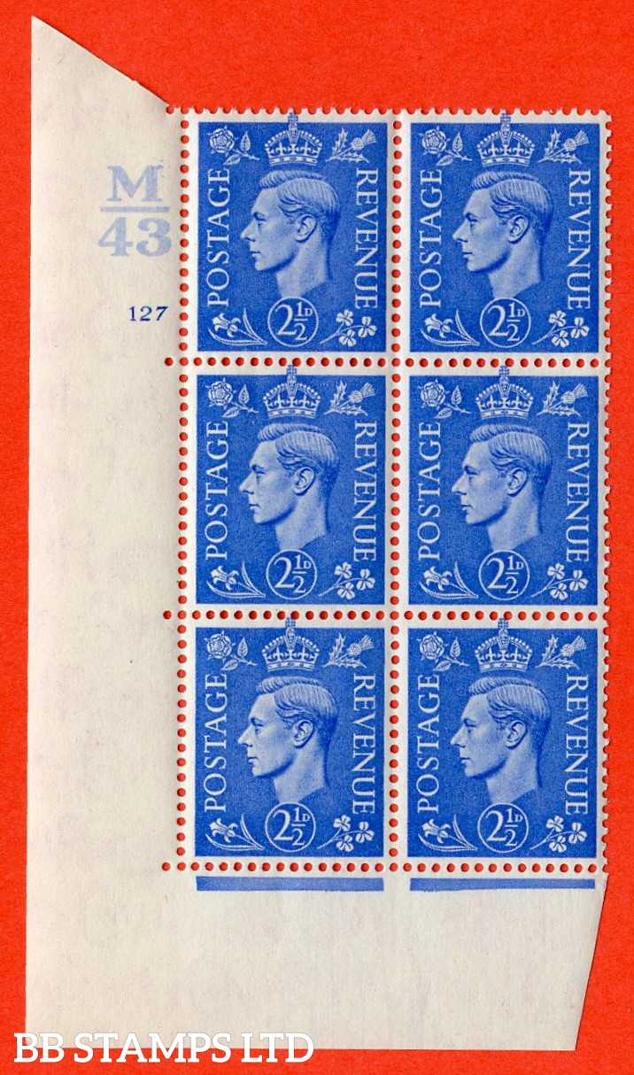 "SG. 489. Q14. 2½d Light ultramarine. A superb UNMOUNTED MINT ""  Control M43 cylinder 127 no dot "" control block of 6 with perf type 5 E/I."