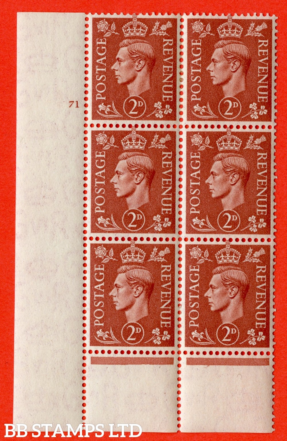 "SG. 506. Q12. 2d Pale Red-Brown. A superb UNMOUNTED MINT "" No Control cylinder 71 no dot "" control block of 6 with perf type 6 I/P."