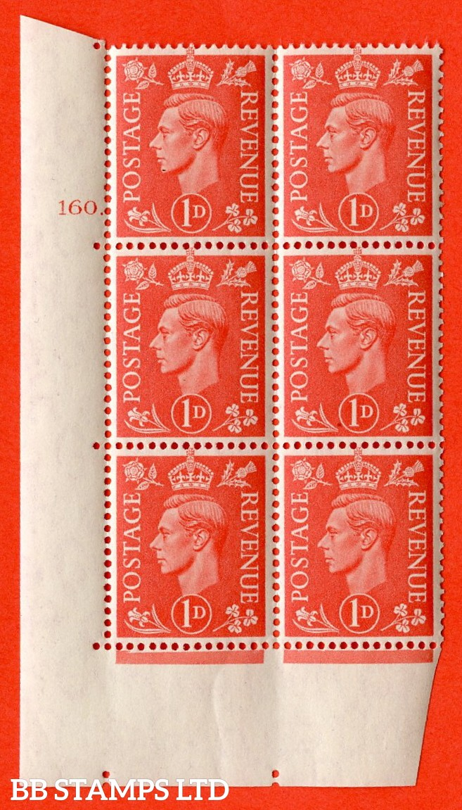 "SG. 486. Q5. 1d Pale scarlet. A superb UNMOUNTED MINT "" No Control  cylinder 160 dot "" control block of 6 with perf type 5 E/I."