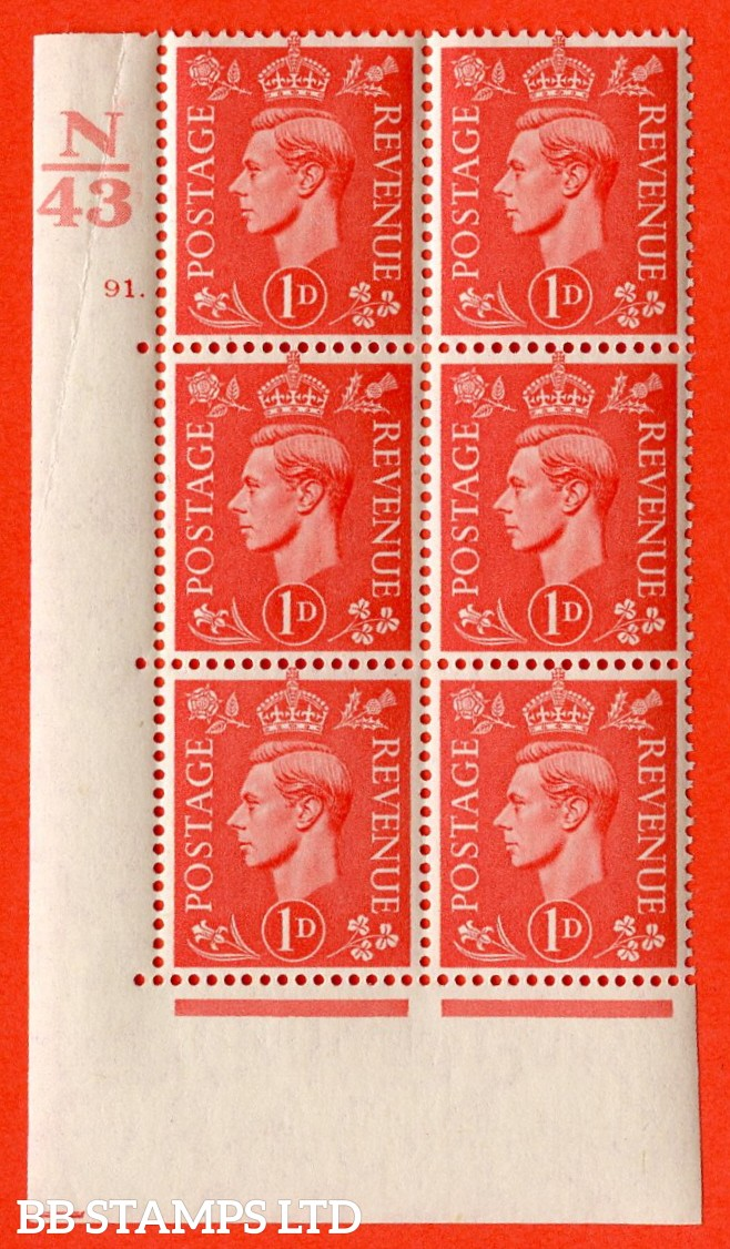"SG. 486. Q5. 1d Pale scarlet. A superb UNMOUNTED MINT ""  Control N43 cylinder 91 dot "" control block of 6 with perf type 5 E/I. Crease in margin."
