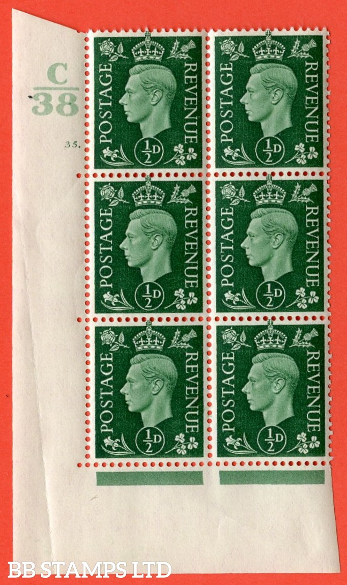 "SG. 462. Q1. ½d Green. A superb UNMOUNTED MINT "" Control C38 cylinder 35 dot "" block of 6 with perf type 5 E/I with marginal rule. Crease in margin."