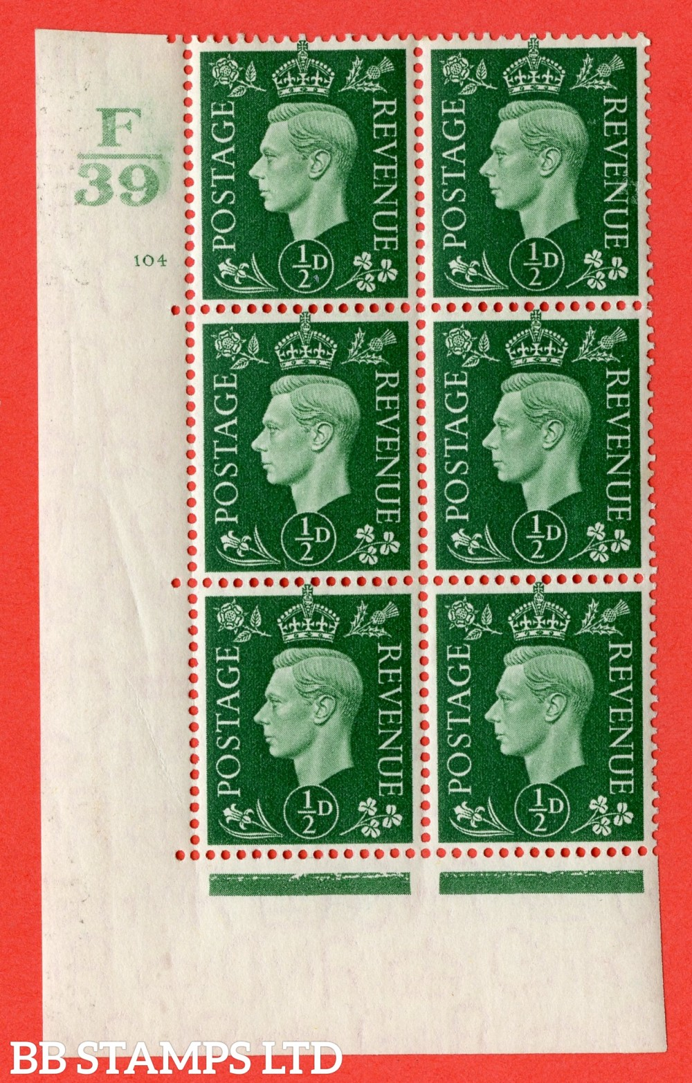 "SG. 462. Q1. ½d Green. A superb UNMOUNTED MINT "" Control F39 cylinder 104 no dot "" block of 6 with perf type 5 E/I with marginal rule."