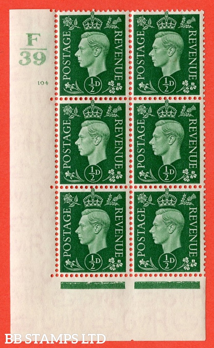"SG. 462. Q1. ½d Green. A very fine lightly mounted mint "" Control F39 cylinder 104 no dot "" block of 6 with perf type 5 E/I with marginal rule."