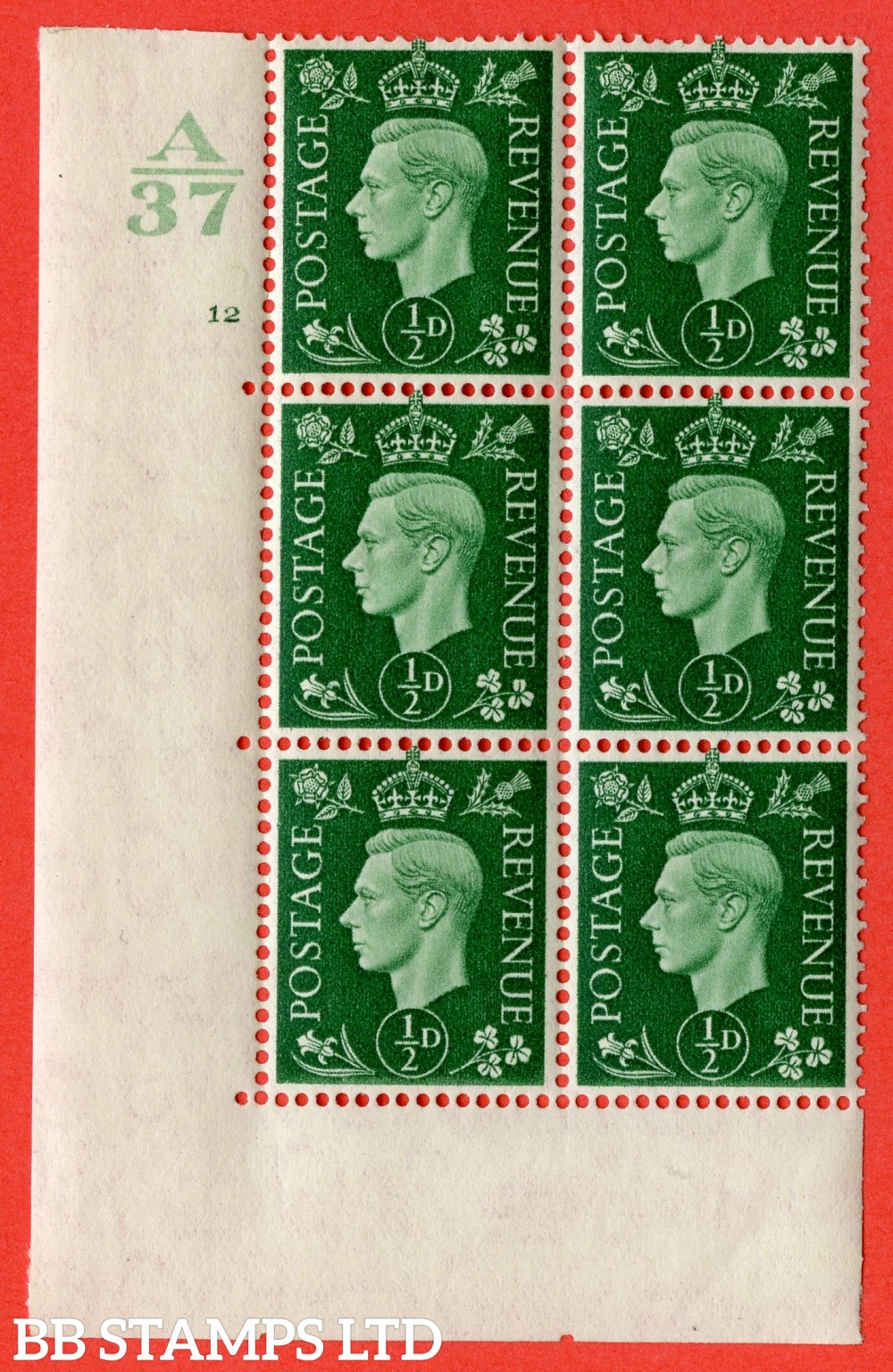 "SG. 462. Q1. ½d Green. A very fine lightly mounted mint "" Control A37 cylinder 12 no dot "" block of 6 with perf type 5 E/I without marginal rule."