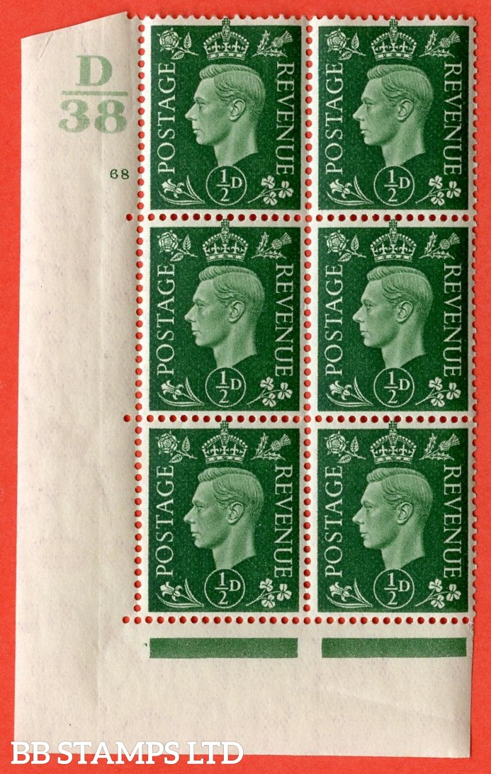 "SG. 462. Q1. ½d Green. A superb UNMOUNTED MINT "" Control D38 cylinder 68 no dot "" block of 6 with perf type 5 E/I with marginal rule."
