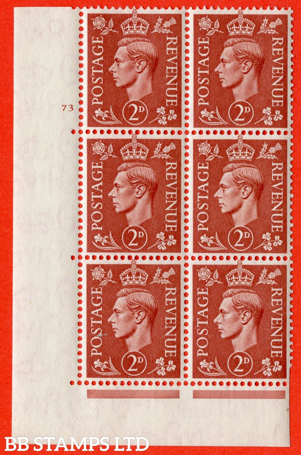 "SG. 506. Q12. 2d Pale Red-Brown. A superb UNMOUNTED MINT "" No Control cylinder 73 no dot "" control block of 6 with perf type 5 E/I."