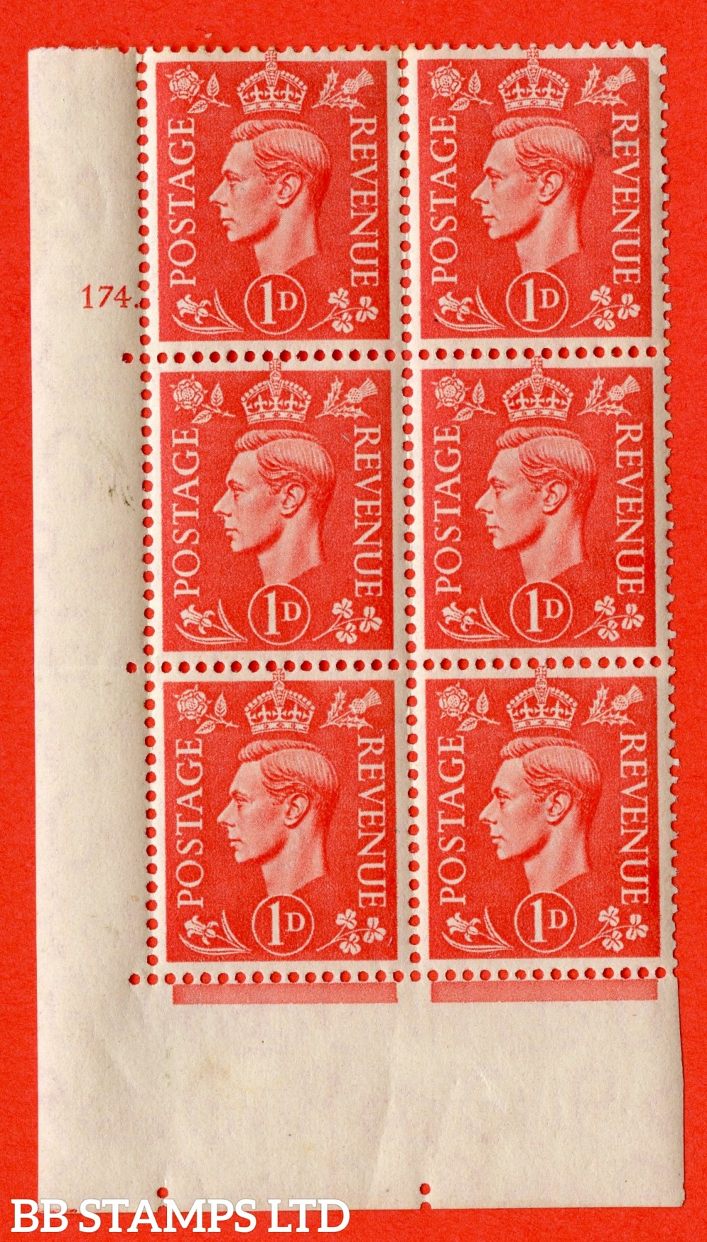 "SG. 486. Q5A. 1d Pale scarlet. A fine lightly mounted mint ""  No Control cylinder 174 dot "" control block of 6 with perf type 5 E/I."