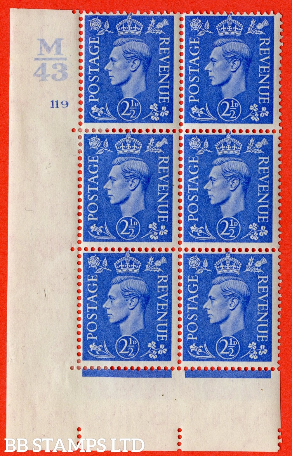 """SG. 489. Q14. 2½d Light ultramarine. A very fine lightly mounted mint """"  Control M43 cylinder 119 no dot """" control block of 6 with perf type 5 E/I."""