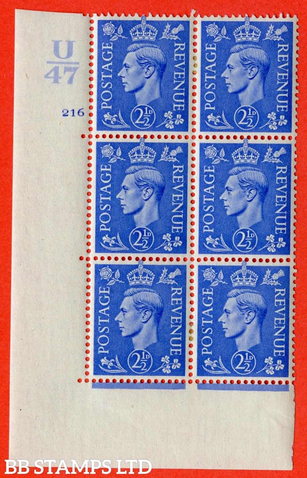 """SG. 489. Q14. 2½d Light ultramarine. A very fine lightly mounted mint """"  Control U47 cylinder 216 no dot """" control block of 6 with perf type 5 E/I."""