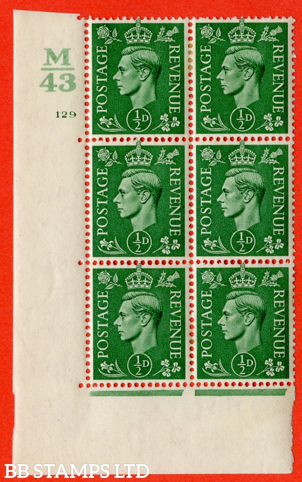 "SG. 485. Q2. ½d Pale Green. A very fine lightly mounted mint "" Control M43 cylinder 129 no dot "" block of 6 with perf type 5 E/I with marginal rule."