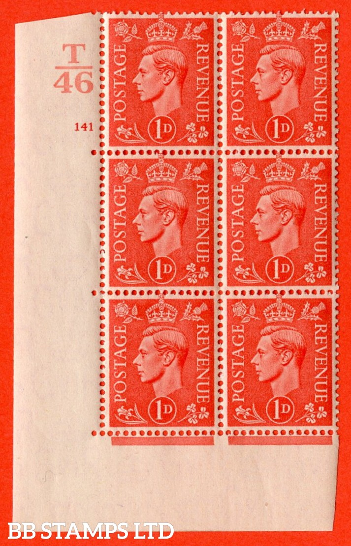 """SG. 486. Q5. 1d Pale scarlet. A fine lightly mounted mint """"  Control T46 cylinder 141 no dot """" control block of 6 with perf type 5 E/I."""
