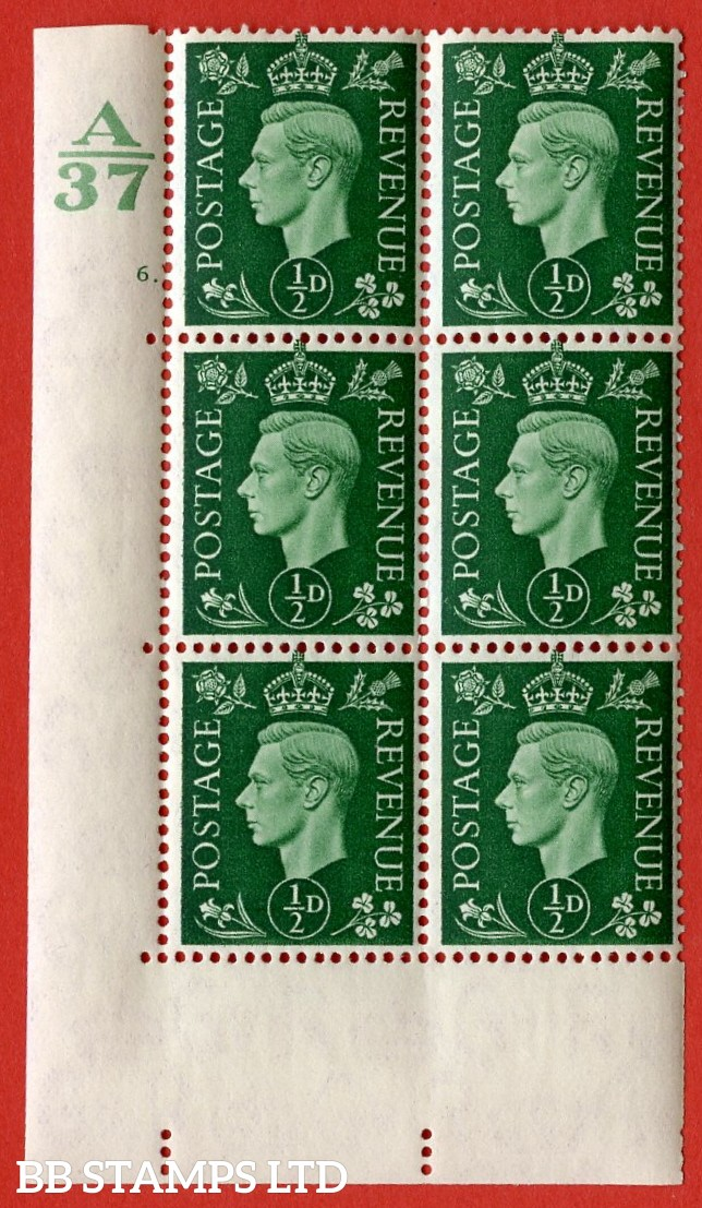 "SG. 462. Q1. ½d Green. A very fine lightly mounted mint "" Control A37 cylinder 6 dot "" block of 6 with perf type 5 E/I without marginal rule."