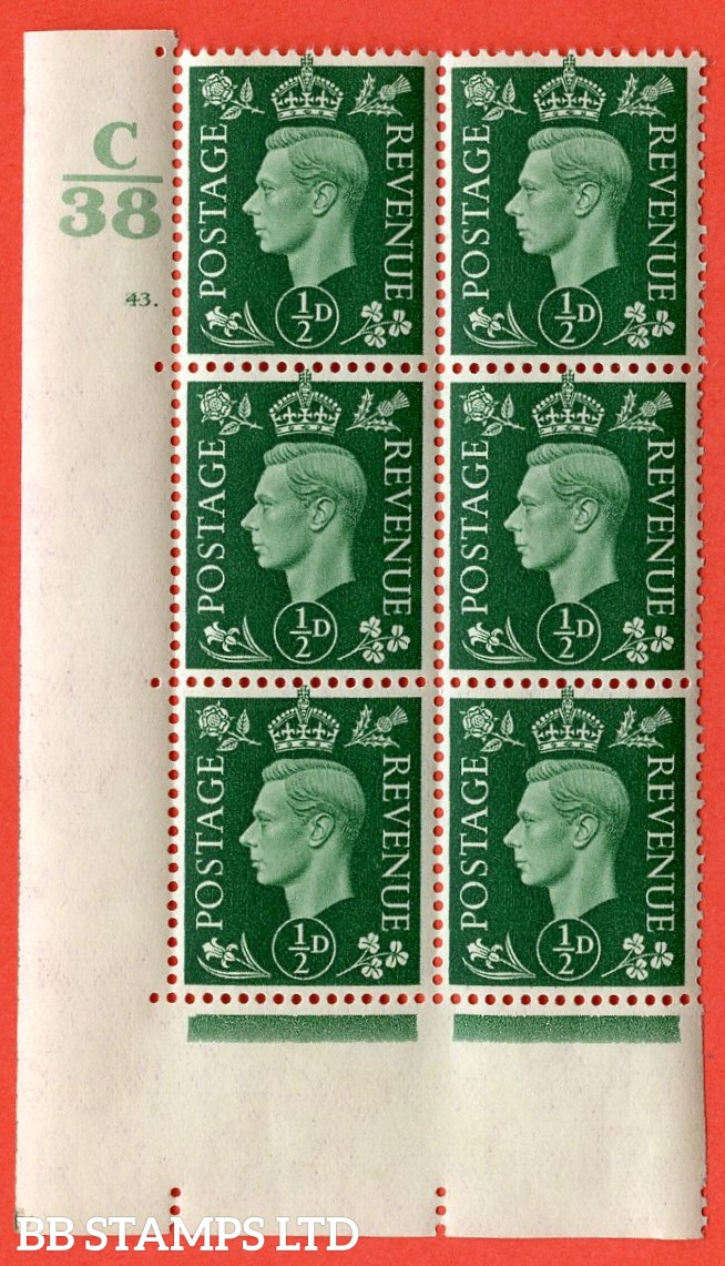 "SG. 462. Q1. ½d Green. A superb UNMOUNTED MINT "" Control C38 cylinder 43 (i) dot "" block of 6 with perf type 5 E/I with marginal rule."