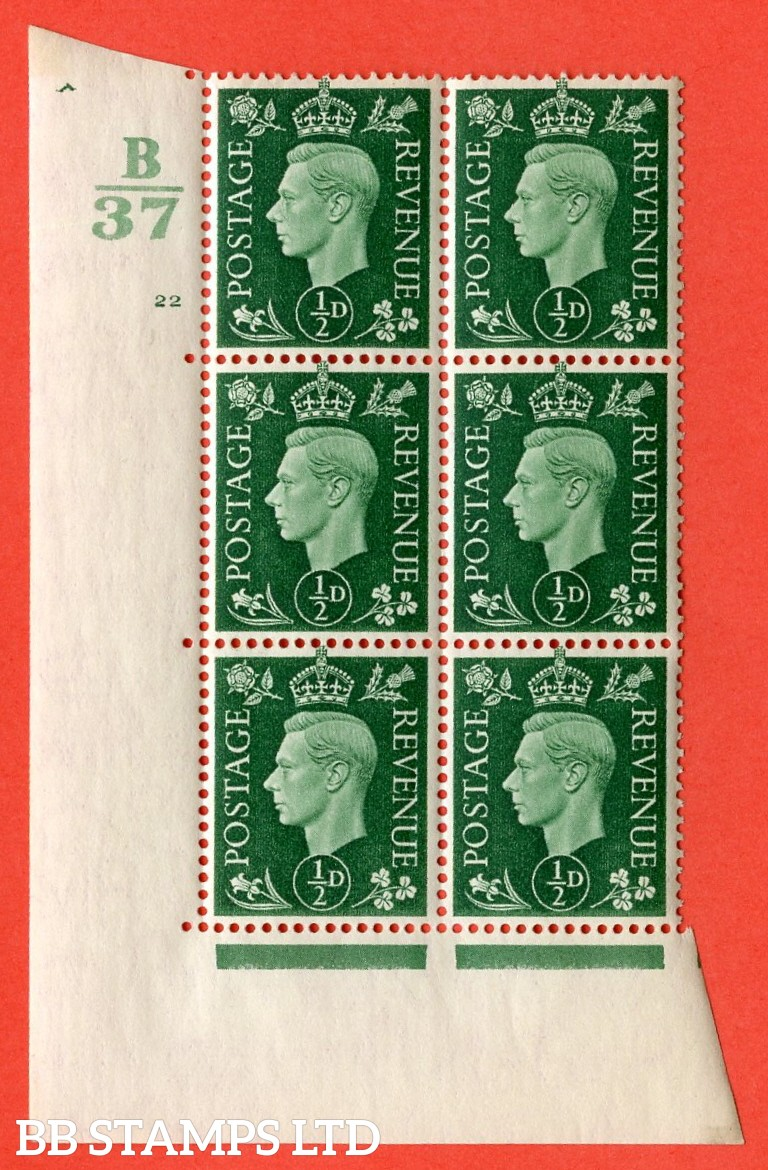 "SG. 462. Q1. ½d Green. A superb UNMOUNTED MINT"" Control B37 cylinder 22 no dot "" block of 6 with perf type 5 E/I without marginal rule."