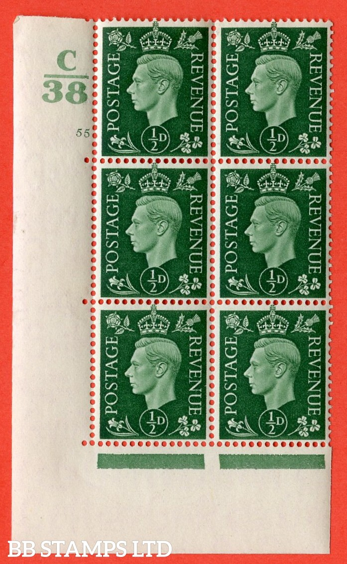 "SG. 462. Q1. ½d Green. A very fine lightly mounted mint "" Control C38 cylinder 55 no dot "" block of 6 with perf type 5 E/I with marginal rule."