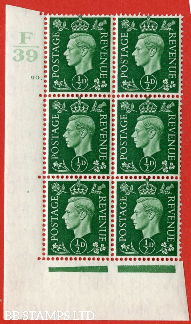 "SG. 462. Q1. ½d Green. A very fine lightly mounted mint "" Control F39 cylinder 90 dot "" block of 6 with perf type 5 E/I with marginal rule."