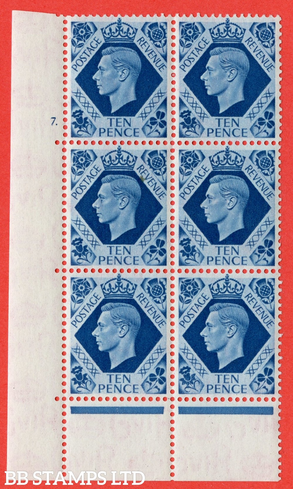 "SG. 474. Q26. 10d Turquoise-Blue. A superb UNMOUNTED MINT "" No Control  cylinder 7 dot "" control block of 6 with perf type 6B E/P."